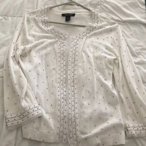 WHBM- White beaded cardigan
